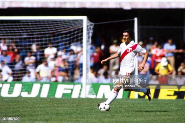 Juan Carlos Oblitas of Peru during the World Cup match between Italy and Peru at Balaidos Stadium Vigo Spain on 18h June 1982