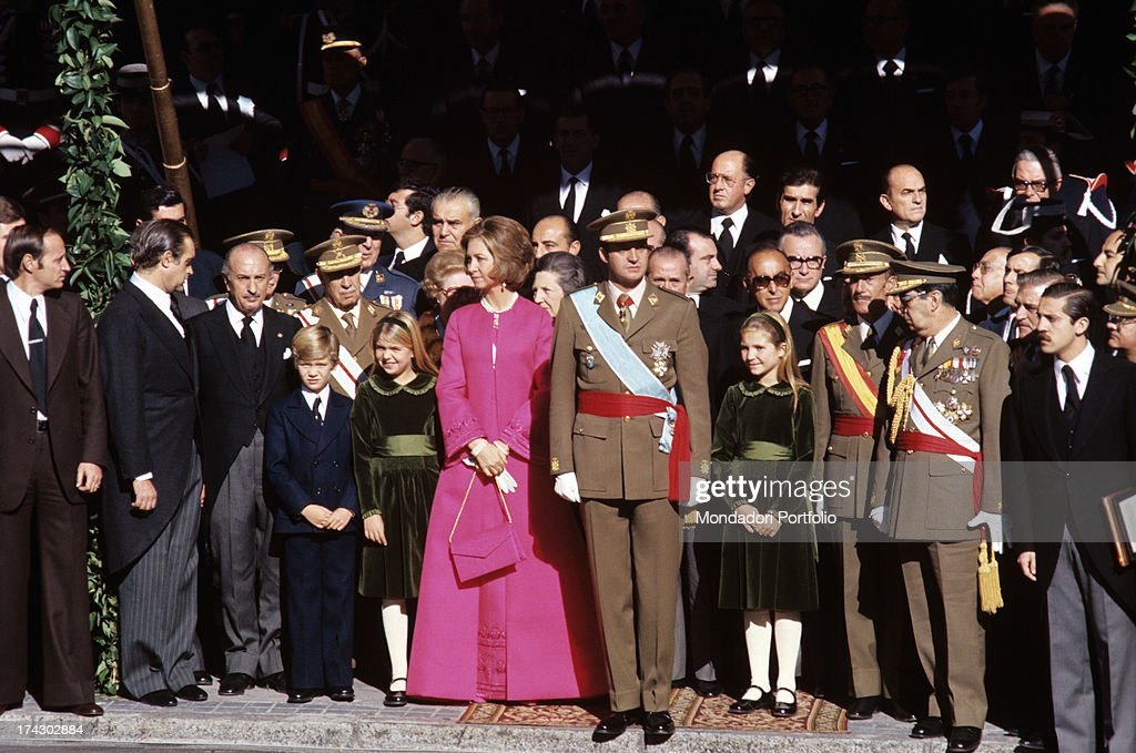 Juan Carlos After He Has Been Designated King Of Spain With Sophia And Their Children : News Photo