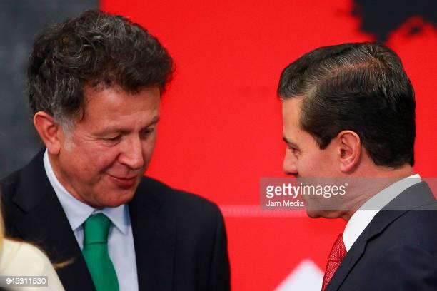 Juan Carlos Osorio Coach of Mexico and Enrique Pena Nieto President of Mexico talk during the FIFA Trophy Tour at Residencia Oficial de Los Pinos on...