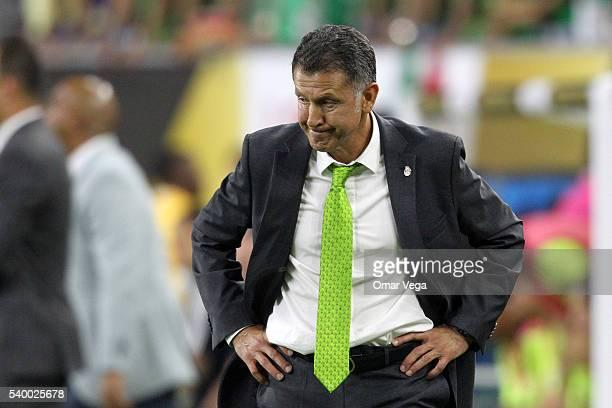 Juan Carlos Osorio coach of Mexico gestures during a group C match between Mexico and Venezuela at NRG Stadium as part of Copa America Centenario US...