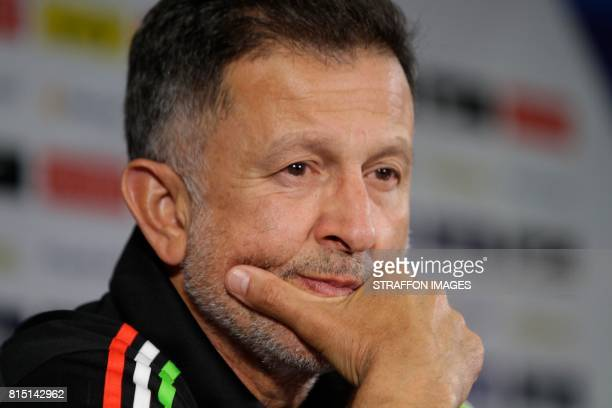 Juan Carlos Osorio coach of Mexico gestures during a press conference ahead of Mexico's match against Curacao on July 15 2017 in San Antonio Texas