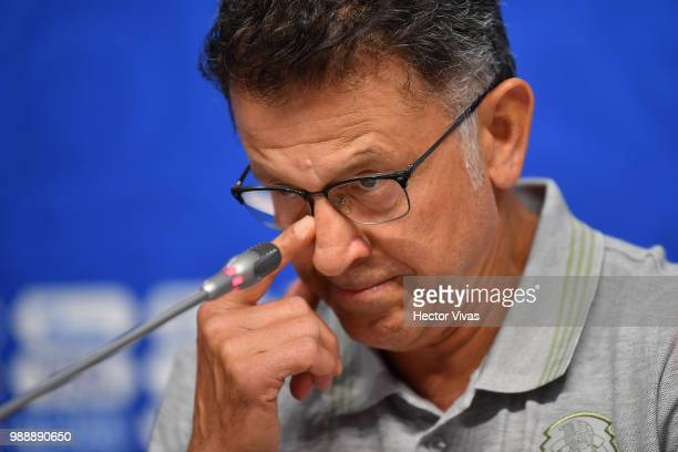 Juan Carlos Osorio coach of Mexico gestures during a press conference at Samara Arena ahead of the Round of Sixteen match against Brazil on July 1...
