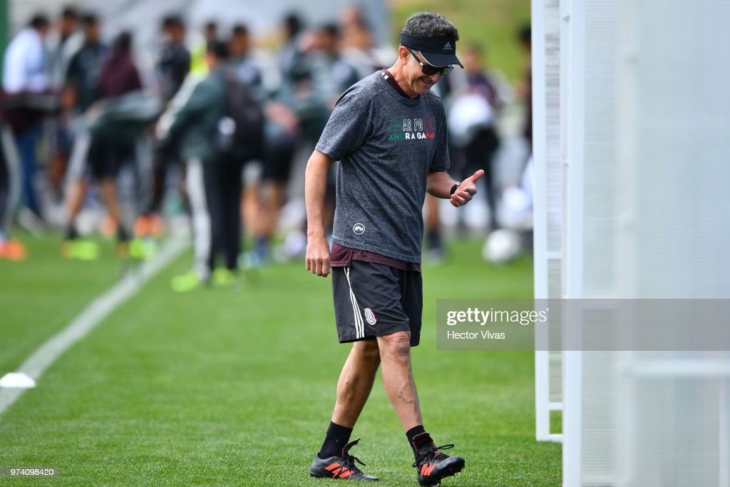 Juan Carlos Osorio, coach of Mexico, gestures during a training session at team training base Novogorsk-Dynamo on June 14, 2018 in Moscow, Russia.