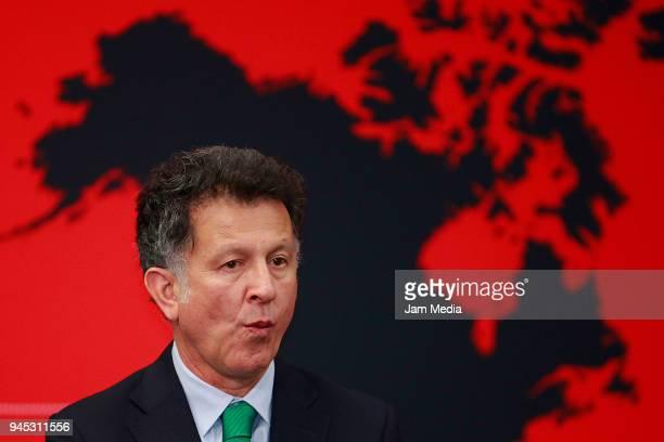 Juan Carlos Osorio Coach of Mexico gestures during the FIFA Trophy Tour at Residencia Oficial de Los Pinos on April 11 2018 in Mexico City Mexico