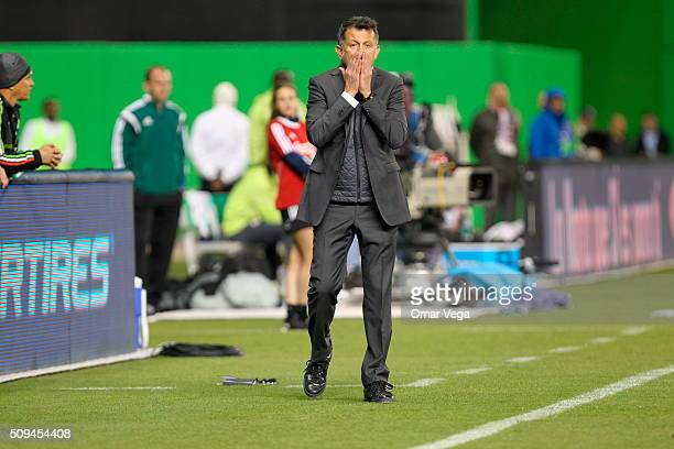 Juan Carlos Osorio coach of Mexico gestures during the international friendly match between Mexico and Senegal at Marlins Park on February 10 2016 in...
