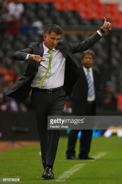Juan Carlos Osorio coach of Mexico gestures during the match between Mexico and El Salvador as part of the 2018 FIFA World Cup Qualifiers at Azteca...