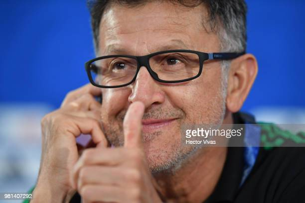 Juan Carlos Osorio coach of Mexico gives a thumbs up during a press conference ahead of the match against Korea as part of FIFA World Cup Russia 2018...