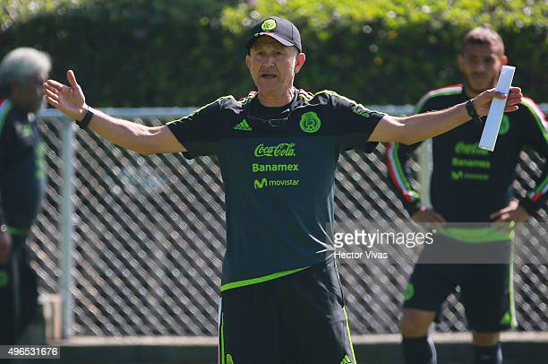 Juan Carlos Osorio coach of Mexico gives instructions to his players during a training session at Centro de Alto Rendimiento on November 10 2015 in...