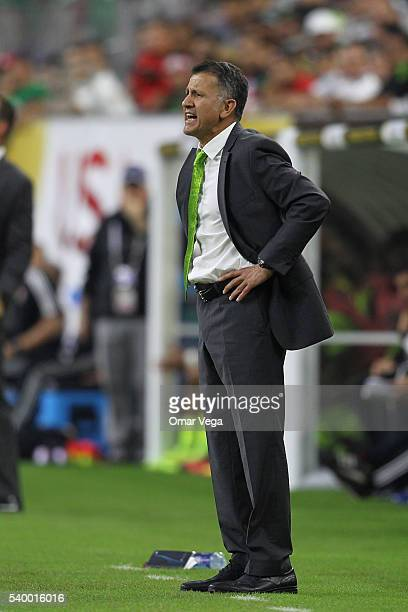 Juan Carlos Osorio coach of Mexico gives instructions to his players during a group C match between Mexico and Venezuela at NRG Stadium as part of...
