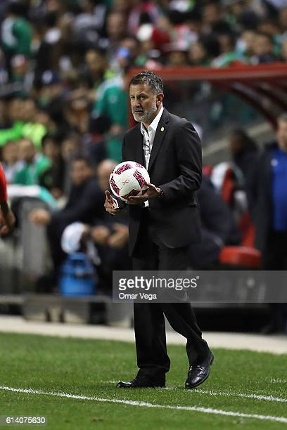 Juan Carlos Osorio coach of Mexico holds a ball during the International Friendly Match between Mexico and Panama at Toyota Park on October 11 2016...