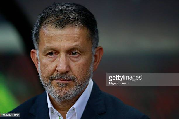 Juan Carlos Osorio coach of Mexico looks on during a match between Mexico and Honduras as part of FIFA 2018 World Cup Qualifiers at Azteca Stadium on...