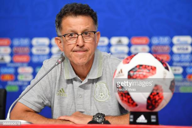 Juan Carlos Osorio coach of Mexico looks on during a press conference at Samara Arena ahead of the Round of Sixteen match against Brazil on July 1...