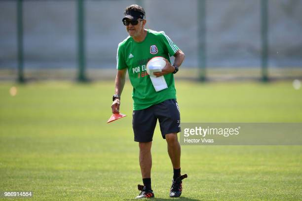Juan Carlos Osorio coach of Mexico looks on during a training at Training Base NovogorskDynamo on June 29 2018 in Moscow Russia