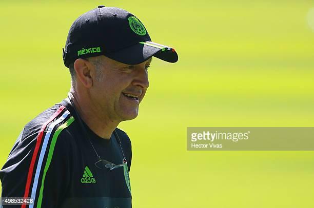 Juan Carlos Osorio coach of Mexico looks on during a training session at Centro de Alto Rendimiento on November 10 2015 in Mexico City Mexico Mexico...