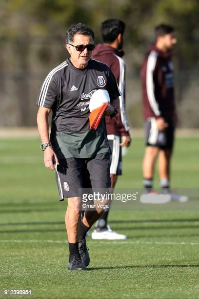 Juan Carlos Osorio coach of Mexico looks on during the Mexico National Team training session at UTSA Park West Soccer Field on January 30 2017 in San...