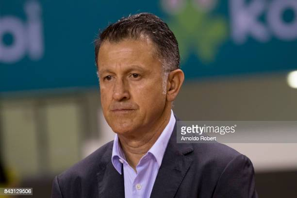 Juan Carlos Osorio coach of Mexico looks on prior the match between Costa Rica and Mexico as part of the FIFA 2018 World Cup Qualifiers at Nacional...
