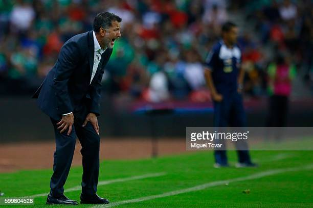 Juan Carlos Osorio coach of Mexico reacts during a match between Mexico and Honduras as part of FIFA 2018 World Cup Qualifiers at Azteca Stadium on...