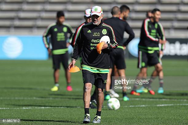 Juan Carlos Osorio coach of Mexico sets up for a practice during a training session at Toyota Park on October 10 2016 in Chicago United States