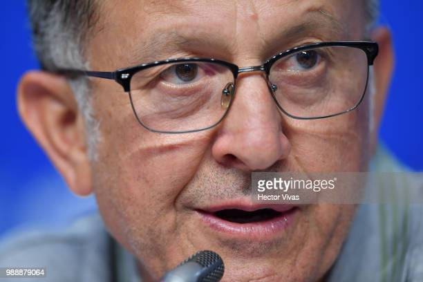 Juan Carlos Osorio coach of Mexico speaks during a press conference at Samara Arena ahead of the Round of Sixteen match against Brazil on July 1 2018...