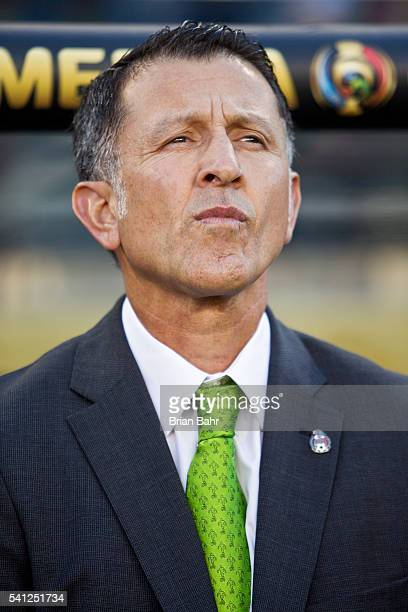 Juan Carlos Osorio coach of Mexico stands for the national anthem before a Quarterfinal match between Mexico and Chile as part of Copa America...