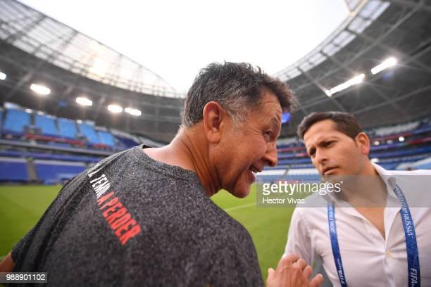 Juan Carlos Osorio coach of Mexico talk with the press during a training at Samara Arena ahead of the Round of Sixteen match against Brazil on July 1...