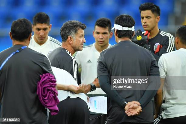 Juan Carlos Osorio coach of Mexico talks with his players during a training session ahead of the match against Korea as part of FIFA World Cup Russia...