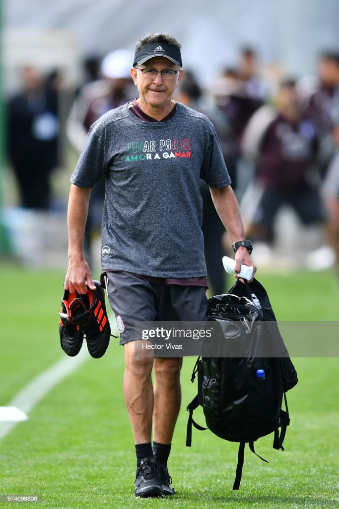 Juan Carlos Osorio, coach of Mexico, walks during a training session at team training base Novogorsk-Dynamo on June 14, 2018 in Moscow, Russia.
