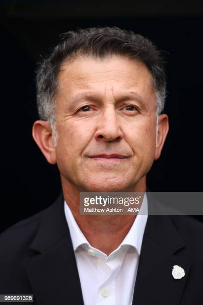 Juan Carlos Osorio head coach / manager of Mexico looks on prior to the 2018 FIFA World Cup Russia Round of 16 match between Brazil and Mexico at...