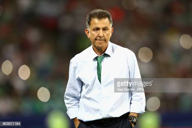 Juan Carlos Osorio head coach of Mexico looks on during the FIFA Confederations Cup Russia 2017 SemiFinal between Germany and Mexico at Fisht Olympic...