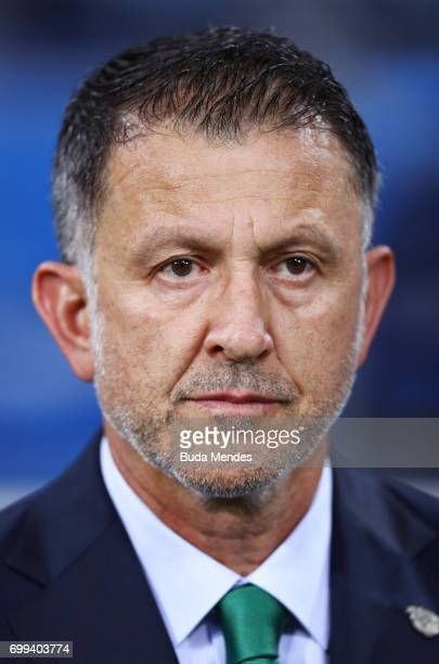 Juan Carlos Osorio head coach of Mexico looks on prior to the FIFA Confederations Cup Russia 2017 Group A match between Mexico and New Zealand at...