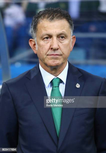 Juan Carlos Osorio head coach of Mexico looks on prior to the FIFA Confederations Cup Russia 2017 SemiFinal between Germany and Mexico at Fisht...