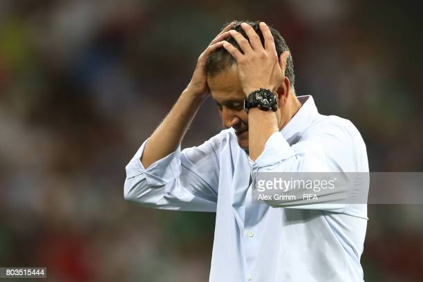 Juan Carlos Osorio head coach of Mexico reacts during the FIFA Confederations Cup Russia 2017 SemiFinal between Germany and Mexico at Fisht Olympic...