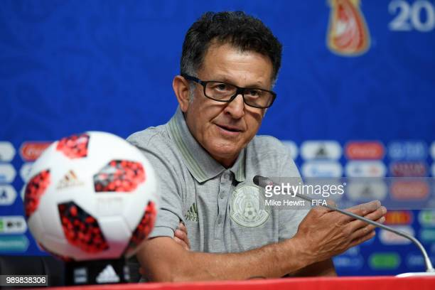 Juan Carlos Osorio Manager of Mexico attends the post match press confernce following the 2018 FIFA World Cup Russia Round of 16 match between Brazil...