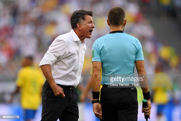 Juan Carlos Osorio Manager of Mexico complains to fourth official during the 2018 FIFA World Cup Russia Round of 16 match between Brazil and Mexico...