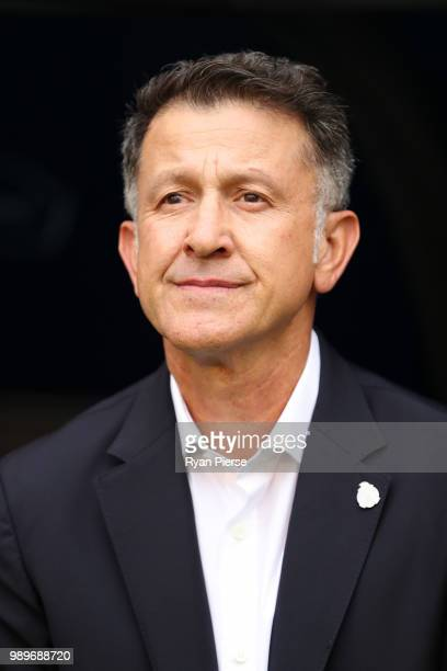 Juan Carlos Osorio Manager of Mexico looks on prior to the 2018 FIFA World Cup Russia Round of 16 match between Brazil and Mexico at Samara Arena on...