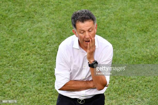 Juan Carlos Osorio Manager of Mexico reacts during the 2018 FIFA World Cup Russia Round of 16 match between Brazil and Mexico at Samara Arena on July...