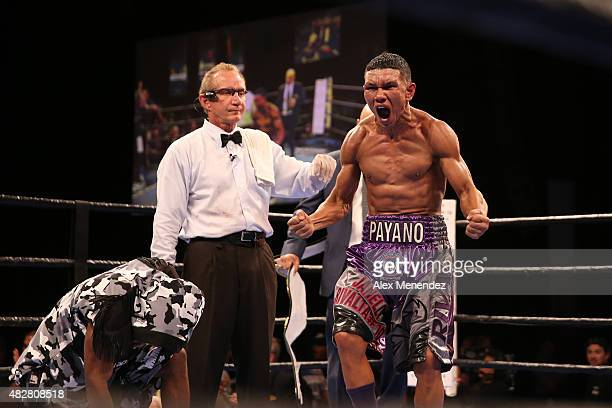 Juan Carlos Payano celebrates his victory over Rau'shee Warren after the Premier Boxing Champions on Bounce TV boxing match at Full Sail University...