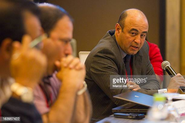 Juan Carlos Peña of Colombia talks during the CONCECADE presentation as part of XIX Sports Minister of America and Iberoamerica Meeting Organized by...