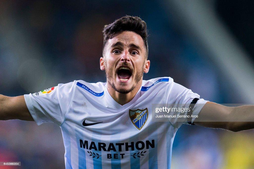 Juan Carlos Perez of Malaga CF reacts during the La Liga match between SD Eibar and Malaga CF at Ipurua Municipal Stadium on February 25, 2017 in Eibar, Spain.