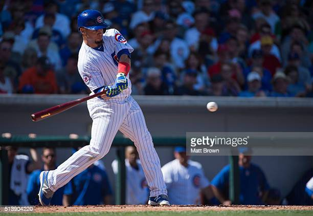 Juan Carlos Perez of the Chicago Cubs at bat during the game against the Los Angeles Angels of Anaheim on March 4 2016 at Sloan Park in Mesa Arizona