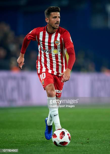 Juan Carlos Real of Almeria runs with the ball during the Spanish Copa del Rey second leg match between Villarreal CF and UD Almeria Estadio de la...