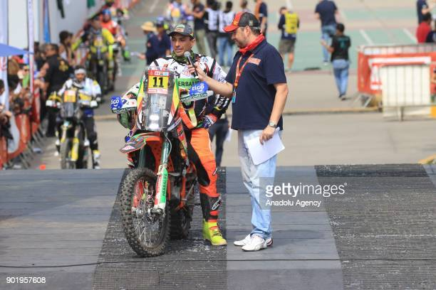 Juan Carlos Salvatierra from Bolivia on the podium during the start of the 2018 Dakar Rally ahead of the rally's LimaPisco Stage 1 in Lima on January...