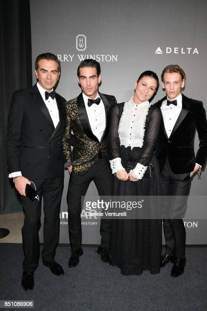Juan Carlos Tubilla Jon Kortajarena guest and Jamie Campbell Bower walk the red carpet of amfAR Gala Milano on September 21 2017 in Milan Italy