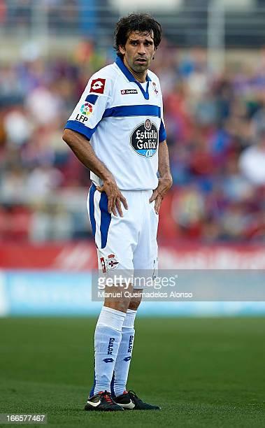 Juan Carlos Valeron of Deportivo de La Coruna looks on during the la Liga match between Levante UD and RC Deportivo de La Coru–a at Ciutat de...