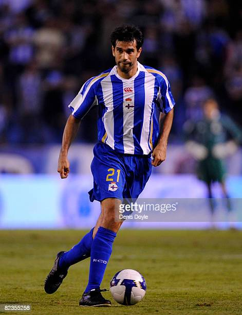 Juan Carlos Valeron of Deportivo La Coruna goes for the ball during the UEFA Cup Second Qualifying Round, first leg between Deportivo La Coruna and...