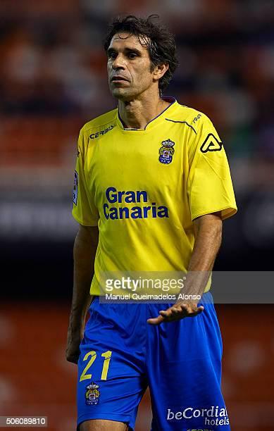 Juan Carlos Valeron of Las Palmas reacts during the Copa del Rey quarterfinal first leg match between Valencia CF and UD Las Palmas at Estadio...