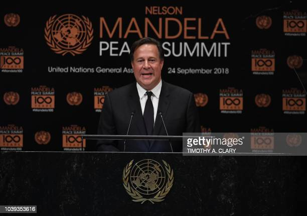 Juan Carlos Varela President of Panama addresses the Nelson Mandela Peace Summit September 24 2018 a day before the start of the General Debate of...