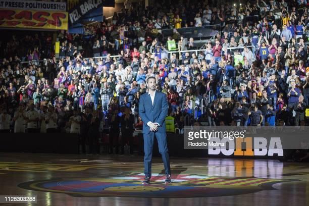 Juan Carlso Navarro former player during the Tshirt retire ceremony prior the 2018/2019 Turkish Airlines EuroLeague Regular Season Round 24 game...