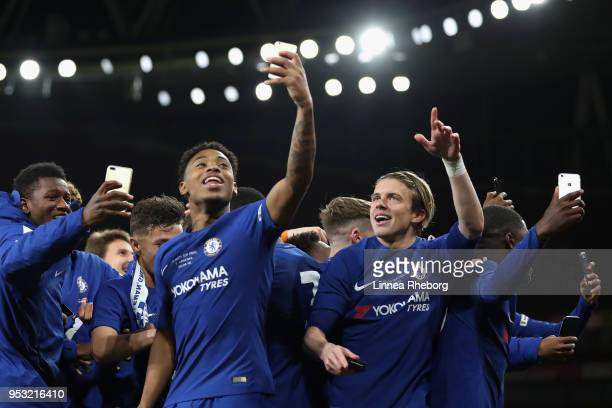 Juan Castillo of Chelsea and Conor Gallagher of Chelsea celebrates after winning the FA Youth Cup Final after the FA Youth Cup Final second leg match...