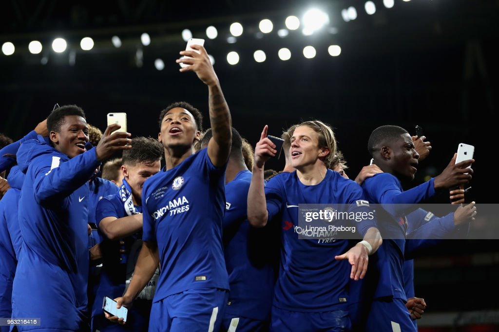 Juan Castillo of Chelsea and Conor Gallagher of Chelsea celebrates after winning the FA Youth Cup Final after the FA Youth Cup Final, second leg match between Arsenal and Chelsea at Emirates Stadium on April 30, 2018 in London, England.